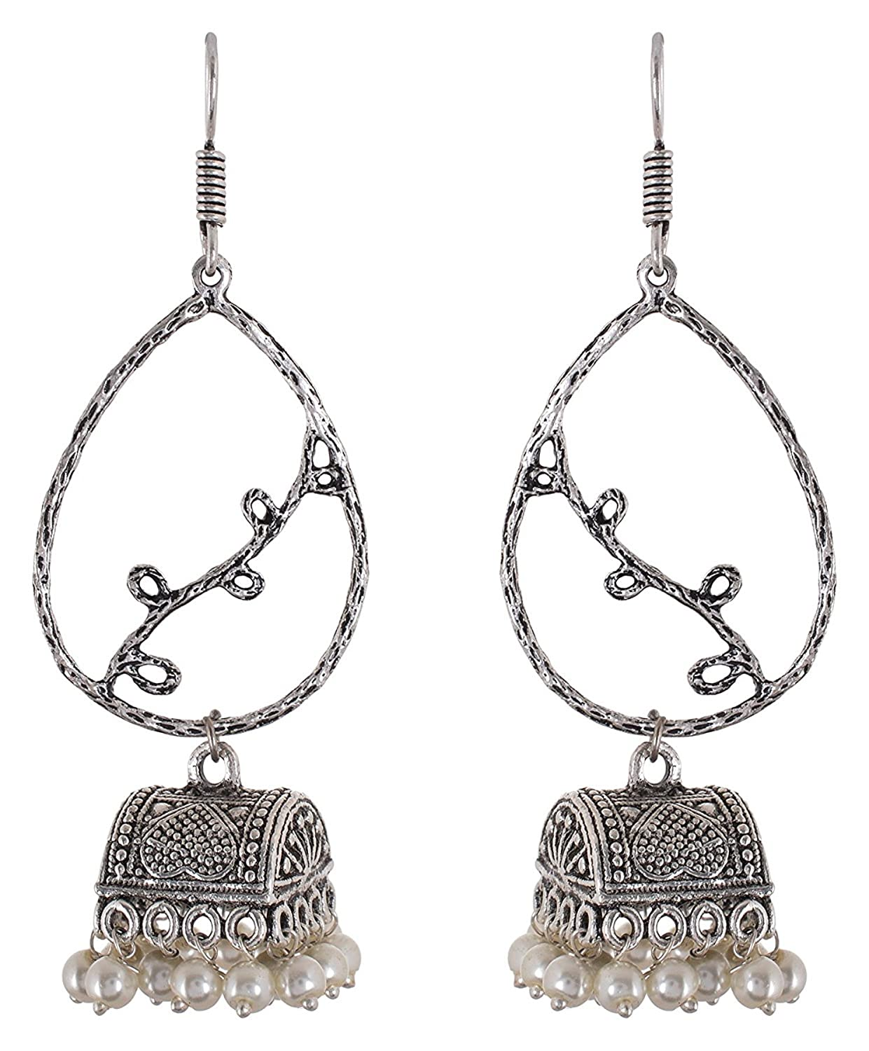 Subharpit White Floral Double Hanging Oxidized Silver Indian Jhumka Jhumki Earring for Woman and Girls