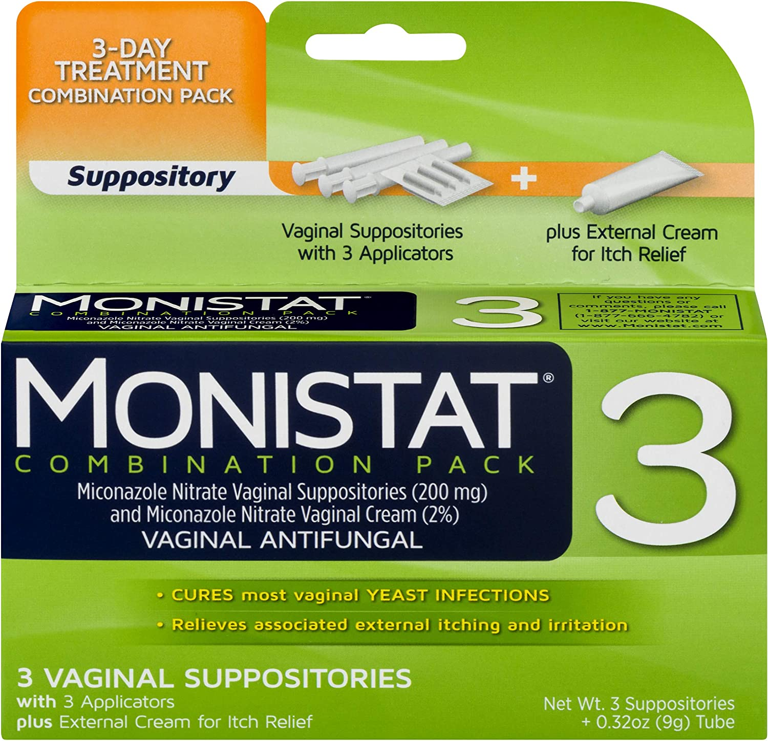 Monistat 3-Day Yeast Infection Treatment | Suppositories + Itch Relief Cream