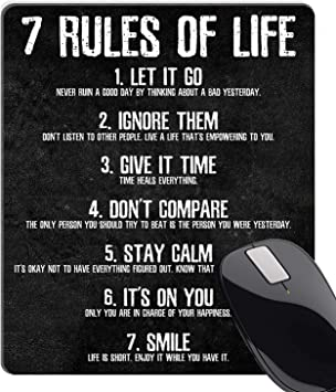 Wknoon 7 Rules of Life Motivational Quotes Mouse Pad Custom, Inspirational  Quote About Life Mouse Pads for Computers