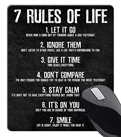 Wknoon 7 Rules Of Life Motivational Quotes Mouse Pad Custom Inspirational Quote About Life Mouse Pads For Computers Amazon In Office Products