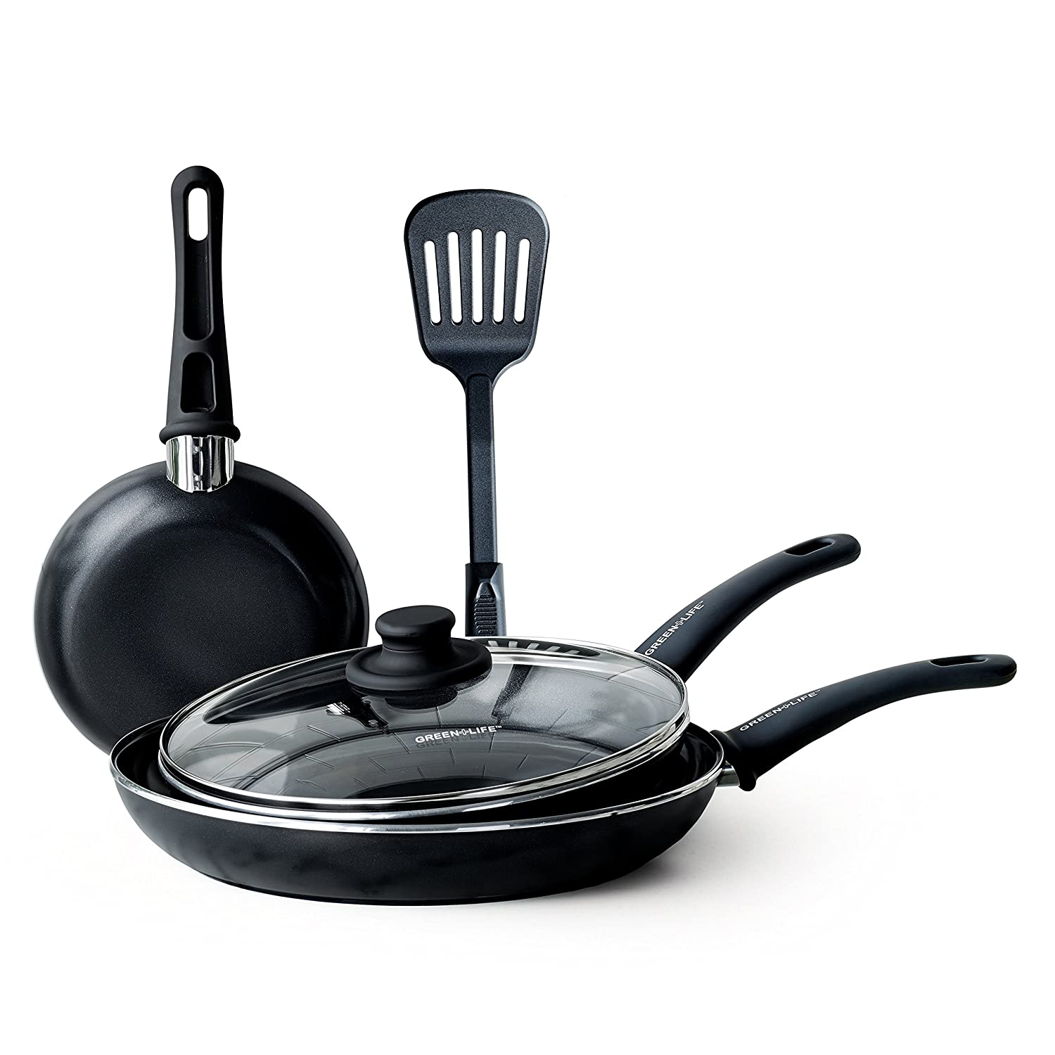 GreenLife CC001577-001 Diamond Cookware Set, 5-Piece, Black