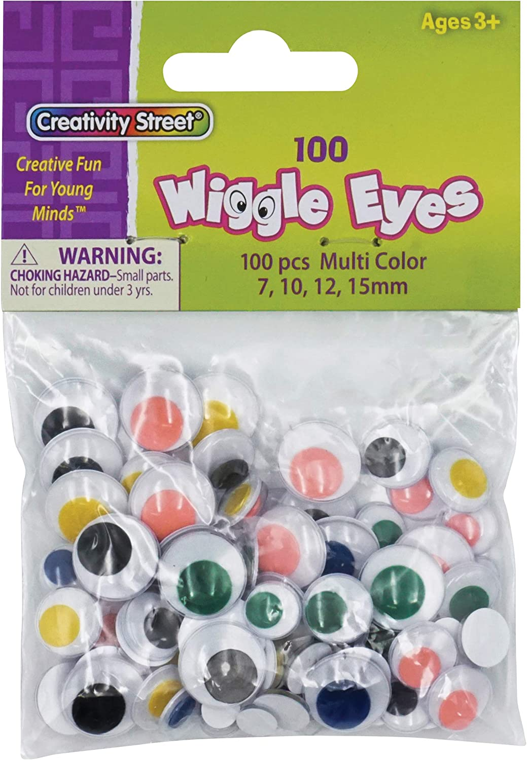 Creativity Street Round Wiggle Eye Pack of 100 Black on White 10 mm