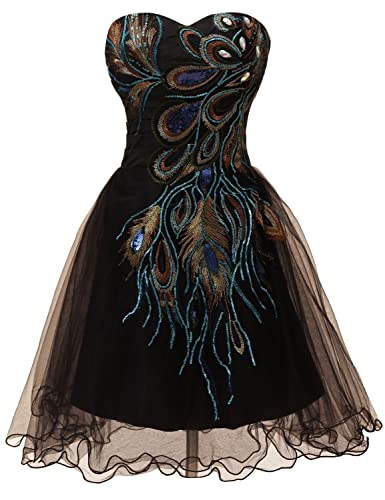 Exlinalesha Women's Strapless Peacock Embroidery Short Prom Dresses ED039