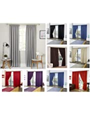 RAYYAN LINEN Thermal Pencil Pleat Blackout Tape Top Pair of Curtains With Free Tiebacks