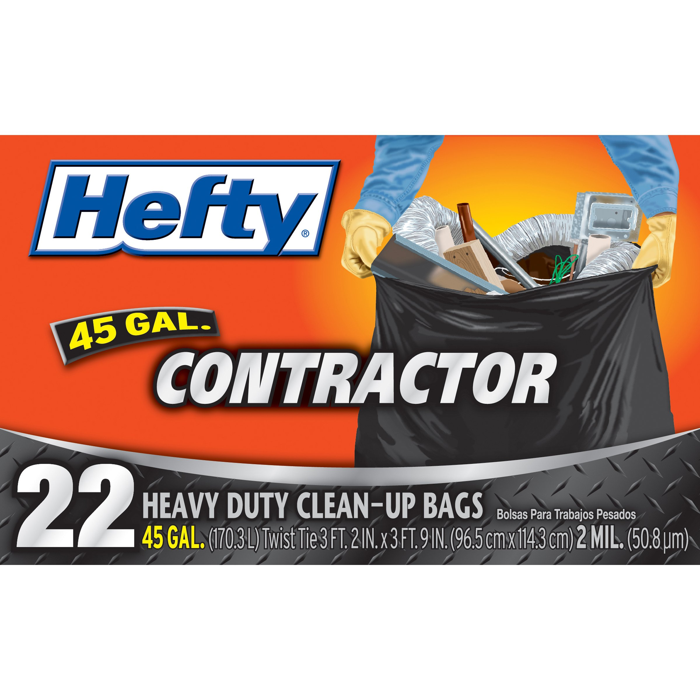 Hefty Heavy Duty Contractor Bags - 45 Gallon, 4 Packs of 22 Count (88 Total) by Hefty