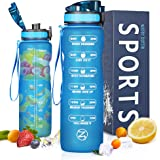 ZOMAKE 32oz Motivational Water Bottle with Time Marker & Removable Strainer, BPA Free Leakproof Water Jug for Fitness, Gym an