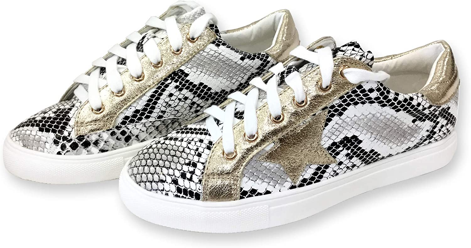 Women Classic Two Tone Star Lace up Fashion Sneakers (10, White Snake)