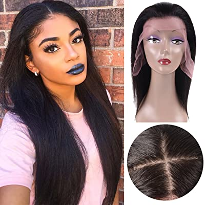 10'' Straight Silk Base Lace Front Wigs Adjustable Pre Plucked 360 Lace Human Hair Wigs Glueless Wig for Black Women with Baby Hair Natural Hairline