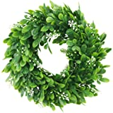 "ElaDeco 10"" Faux Boxwood Wreath Artificial Green Leaves Wreath for Front Door Wall Hanging Window Wedding Party Decoration"