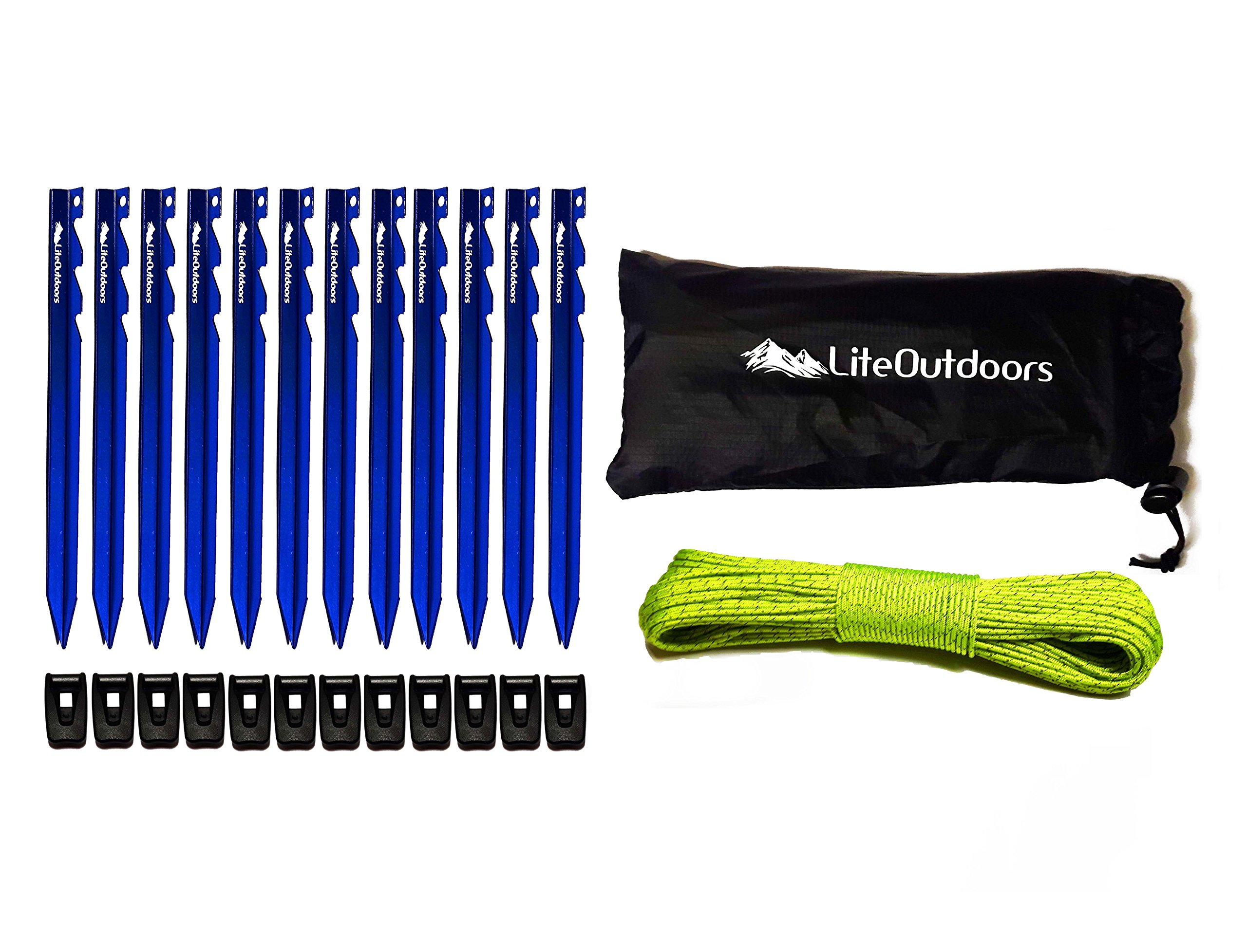 LiteOutdoors Ultralight Tent Stake Kit - 12 Aluminum Tent Pegs, 100' Reflective Guyline, 12 Cord Tensioners - For Backpacking, Hiking, Camping by LiteOutdoors