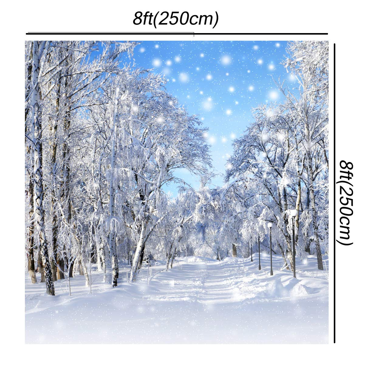 Huayi Winter Wonderland Backdrop Christmas Pine Trees Snowflake