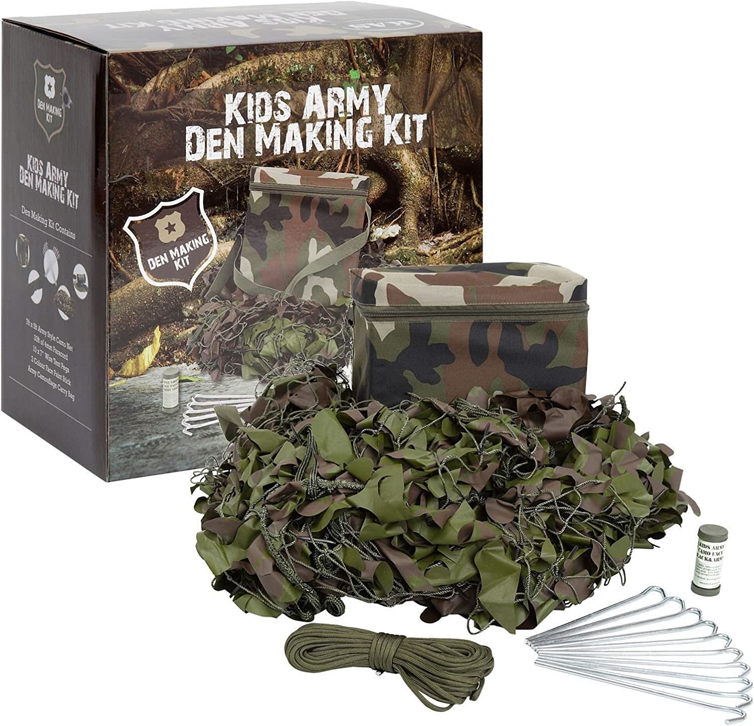 Kids Army Complete Den Making Kit with Camo Net