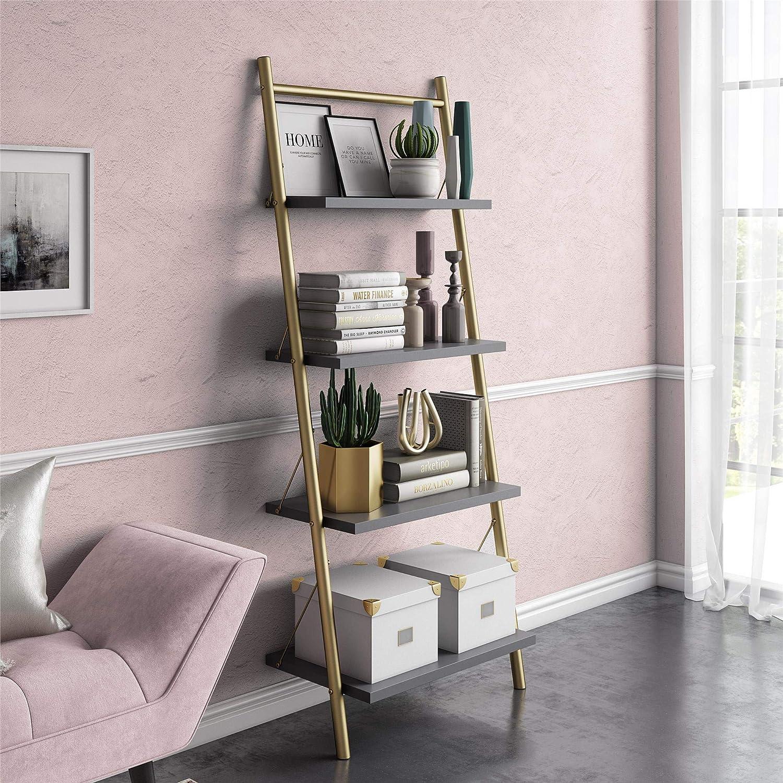Nova 4 Shelf Ladder Bookcase Graphite Gray