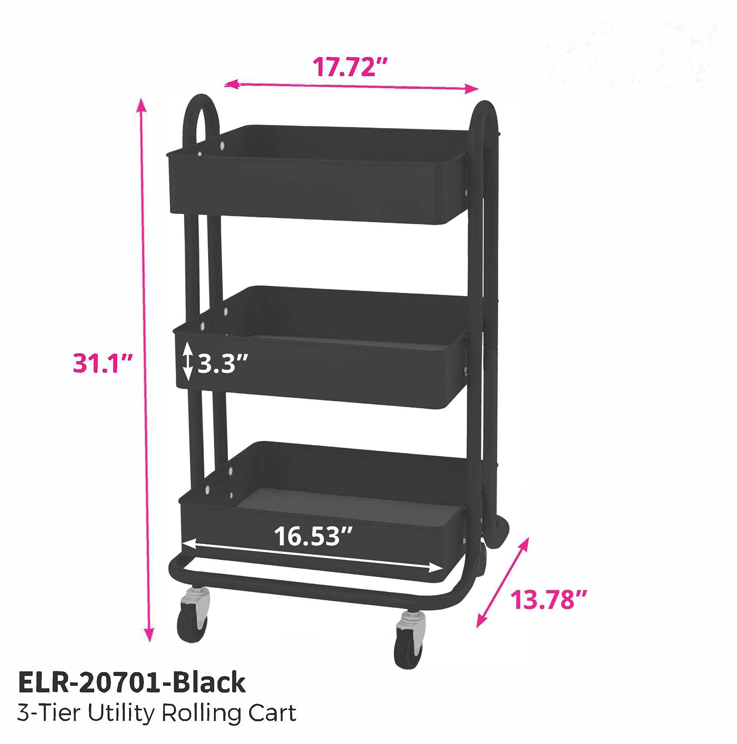 ECR4Kids 3-Tier Metal Rolling Utility Cart - Heavy Duty Mobile Storage Organizer, Black by ECR4Kids (Image #7)