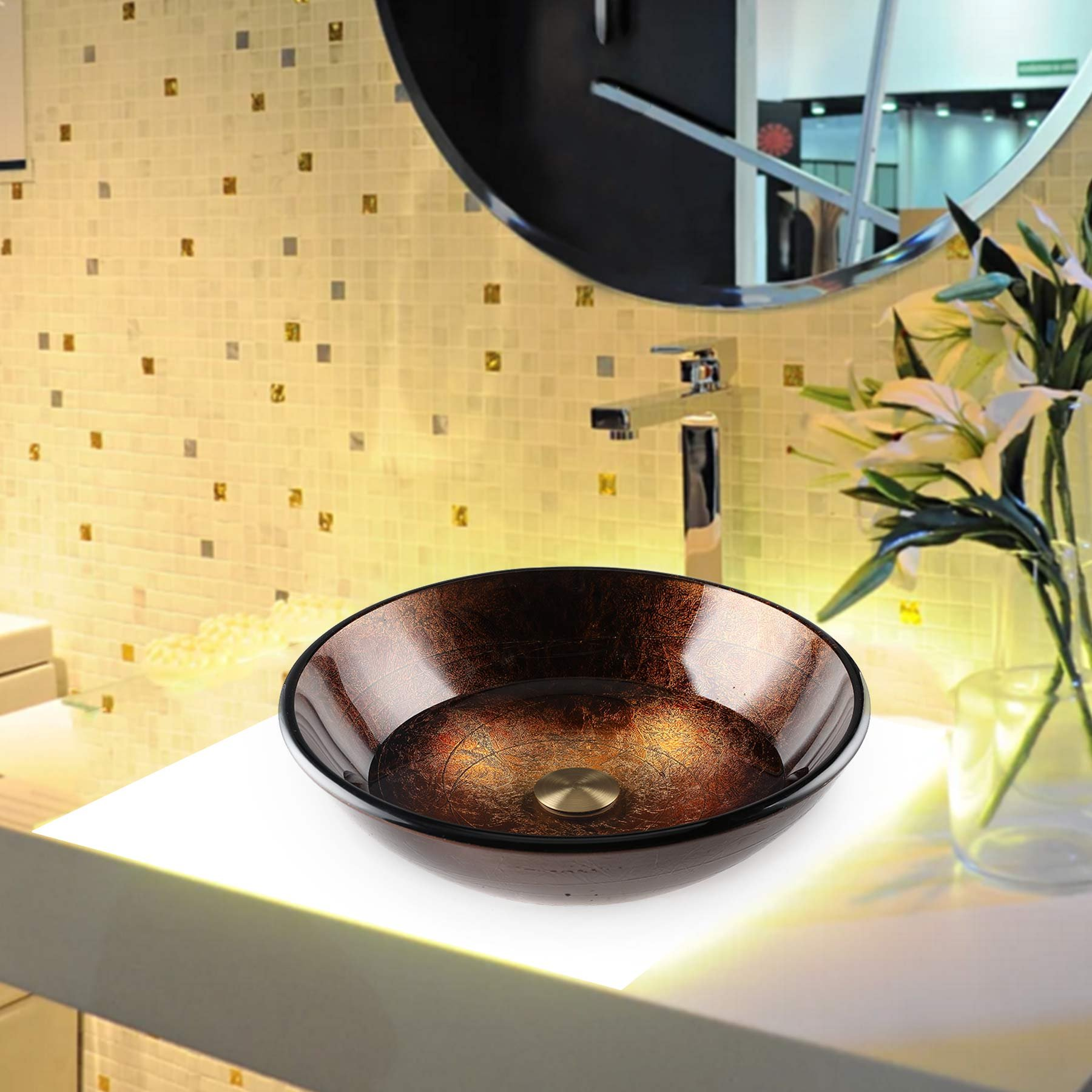 16.5'' x 16.5'' Bathroom Glass Vessel Sink, Round Artistic Handcrafted Gold Foil Color Tempered Glass Vanity Sink Bowl with Chrome Pop Up Drain Stopper (Copper) by CO-Z (Image #8)
