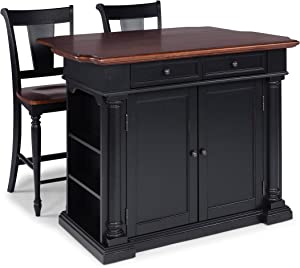 Beacon Hill Black Kitchen Island with Wood Top & Two Stools by Home Styles