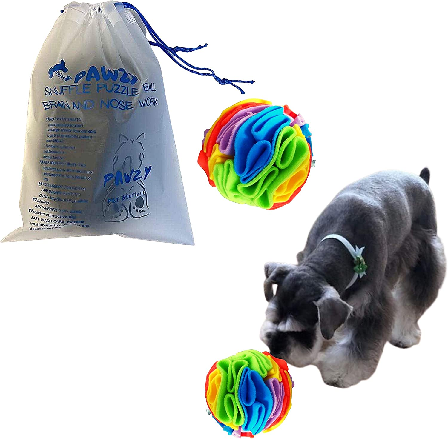 PAWZY Snuffle Treat Ball, Treat Dispensing Training Toy, Foraging Dog Toy, Cat Toy, Dog Play Enrichment, Slow Feeding Ball, Slow Feeder Interactive Toy for Dog and cat
