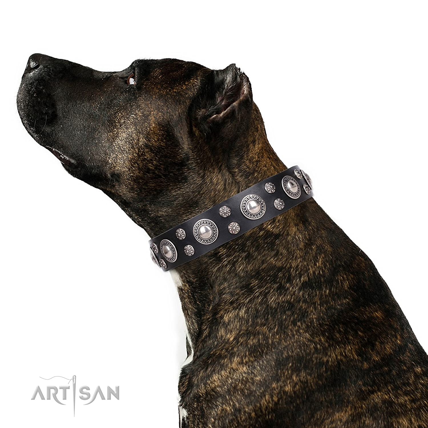 Fits for 16 inch (40cm) dog's neck size FDT Artisan 16 inch Black Leather Dog Collar with Chrome Plated Decorations  Round Delicacy