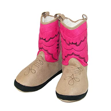 LazyOne Unisex Pink Cowboy Bootie Slippers