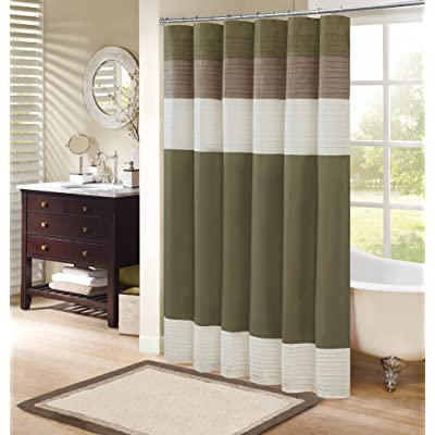 Comfort Spaces Windsor Shower Curtain U2013 Khaki   Brown U2013 Panel Design    72x72 Inches