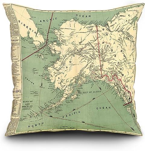 Lantern Press Alaska – 1897 – Panoramic Map 20×20 Spun Polyester Pillow, Square