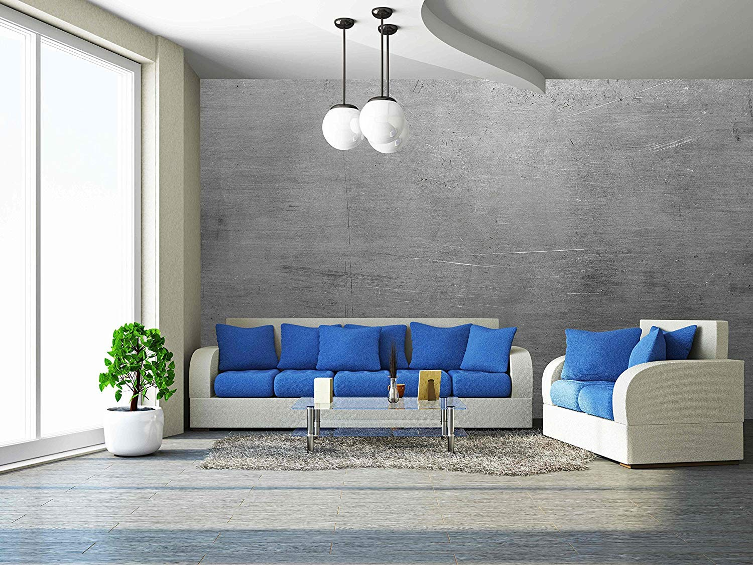 wall26 - Polished Steel - Removable Wall Mural | Self-adhesive Large Wallpaper - 100x144 inches