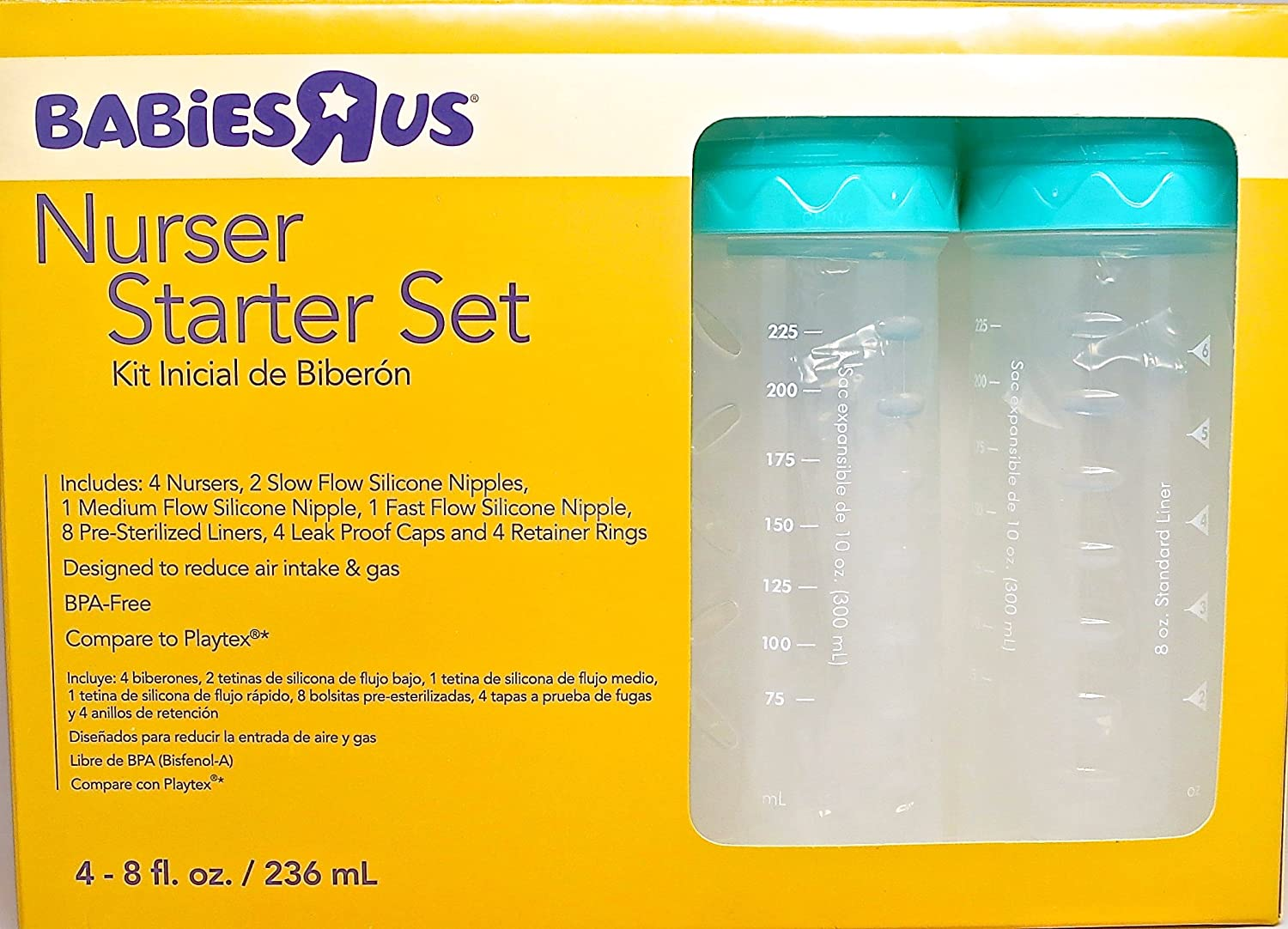 Amazon.com : Baby Bottle Starter Kit - Bundle of 2 Items: Babies R Us Nurser Starter Set and Extra Package of 2 Silicon Nipples : Baby