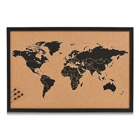 Zeller 11571 pin board world cork black 60 x 40 cm amazon zeller 11571 pin board world cork black 60 x 40 cm gumiabroncs Choice Image