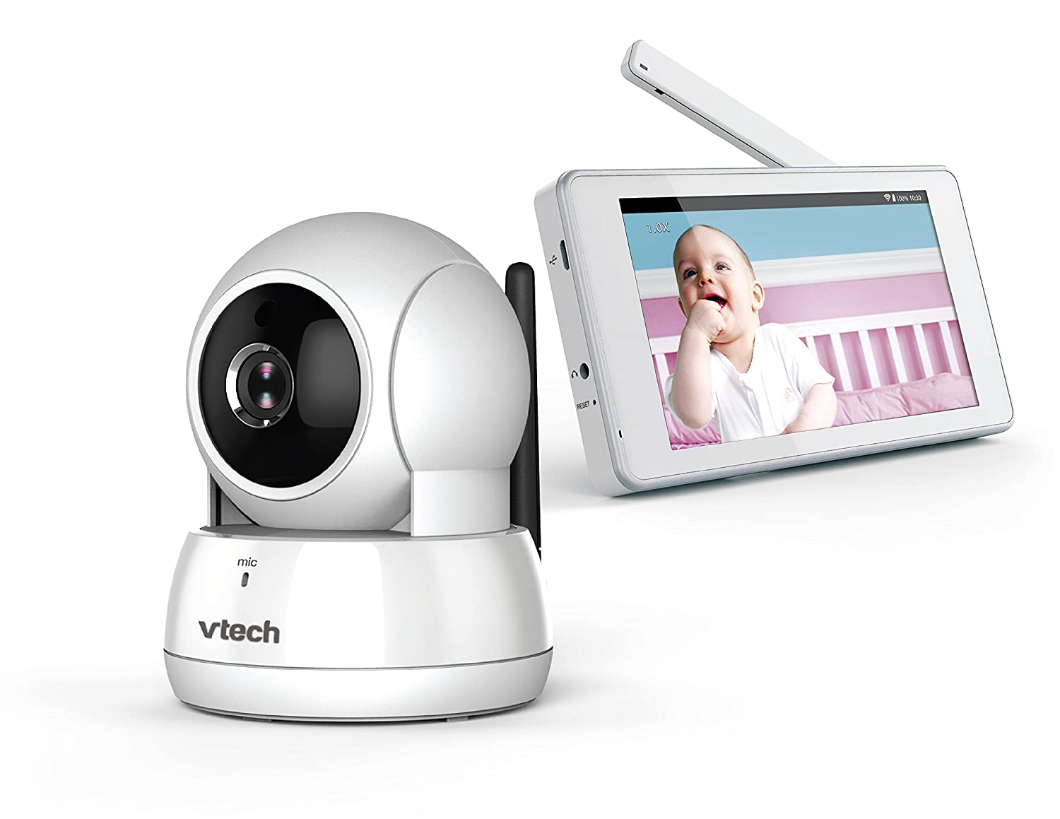 VTech VM991 Expandable HD Video Baby Monitor with Wi-Fi and Pan & Tilt Camera, White, One Size