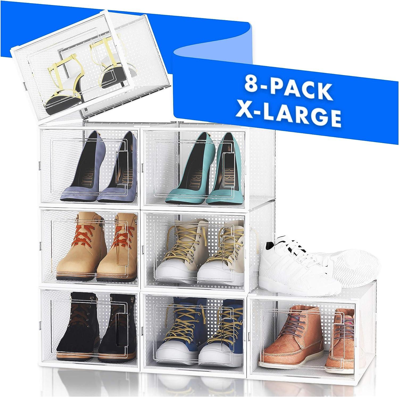 NEATLY Shoe Organizer Shoe Storage - Stylish Shoe Box, Shoe Organizer For Closet, Shoe Shelf, Sneaker Closet Organizers & Storage Organizer, Shoe Storage Cabinet & Shoe Boxes Clear Plastic Stackable