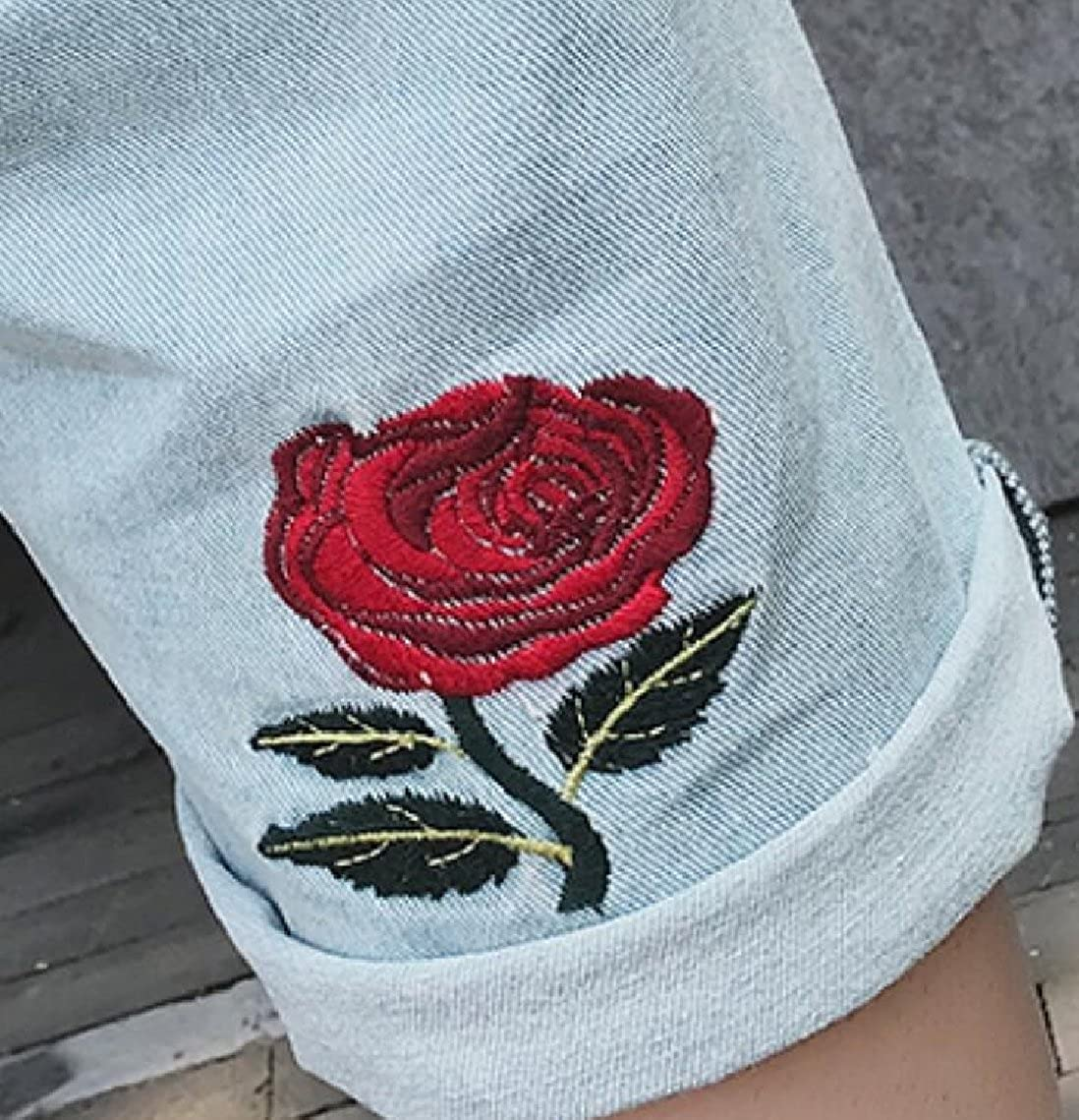 HTOOHTOOH Mens Rose Embroidery Casual Washed Jeans Denim Shorts