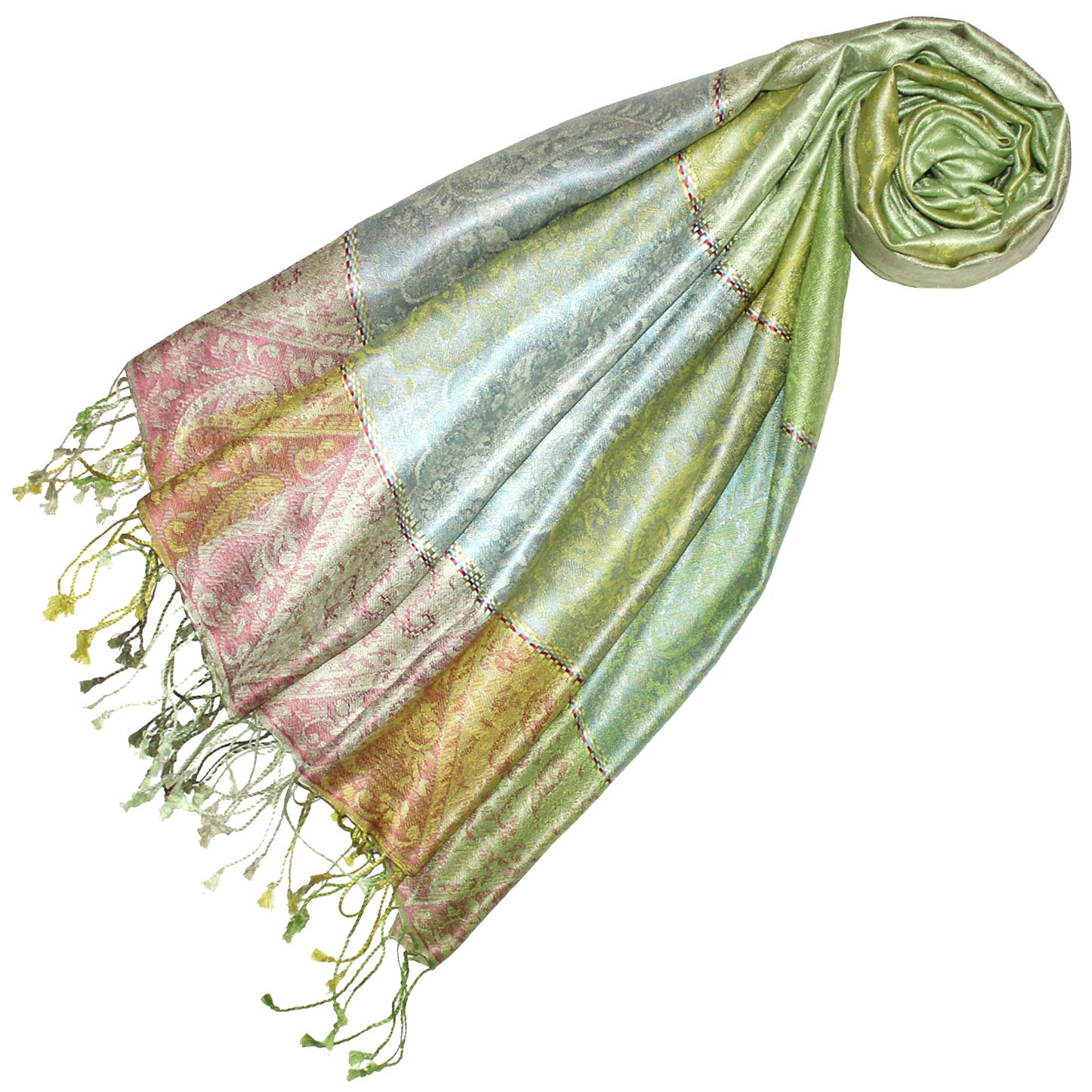 Lorenzo Cana Luxus Pashmina Damen Schal Schaltuch jacquard gewebt 100% Seide 70 cm x 190 cm Paisleymuster Mädchenschal Seidenschal Seidentuch Seidenpashmina harmonische Farben
