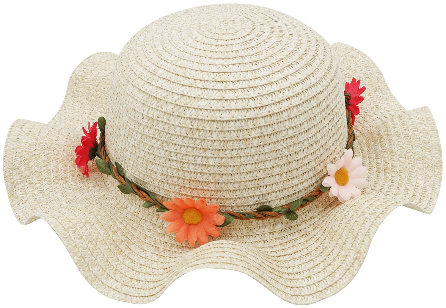 Bienvenu Sun Straw Hat Kids Girls Large Wide Brim Travel Beach Beanie Cap,Beige by Bienvenu (Image #2)