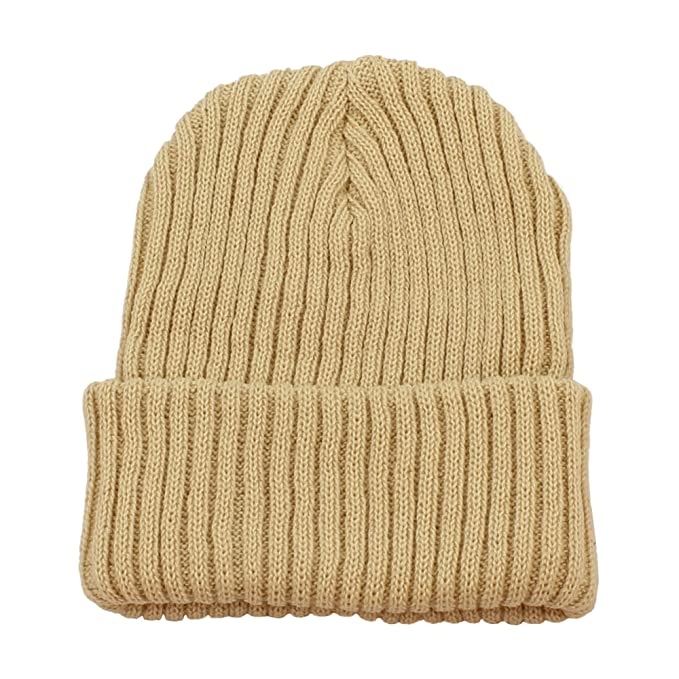 cc7d91b27ce Morehats Warm Thick Crochet Soft Daily Ski Skater Beanie Hat - Beige at  Amazon Men s Clothing store