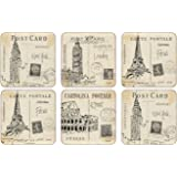 "Pimpernel Postcard Sketches Coasters S/6 4.25"" Sq"