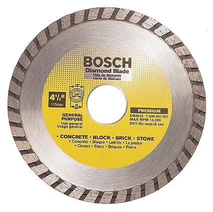 Bosch DB4542 Premium Plus 4-1/2-Inch Dry Cutting Turbo Continuous Rim  Diamond Saw Blade with 7/8-Inch Arbor for Masonry