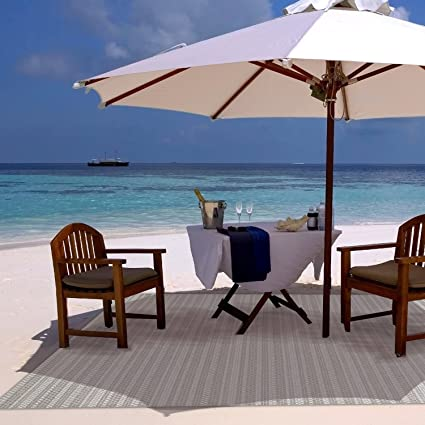 Gertmenian Barnwell Prime Modern Outdoor Furniture Rug, 5x7 Standard, Beige  Gray