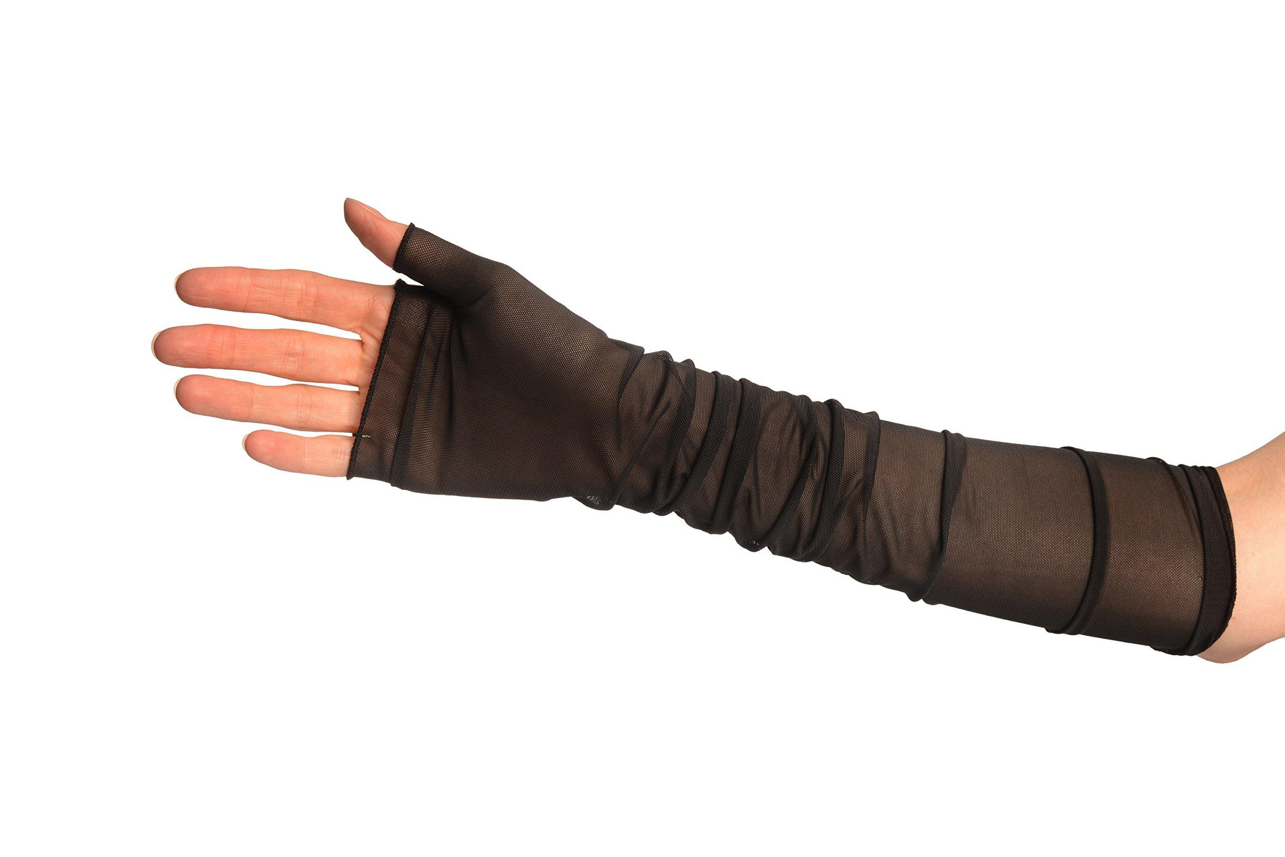 Black Fine Mesh Ballet/Dance Elbow Fingerless Gloves - Gloves by LissKiss (Image #3)