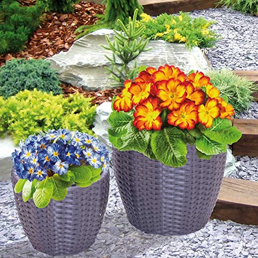 Juego 2 caspò macetas plantas Intreccio de ratán sintético para exterior color gris: Amazon.es: Jardín