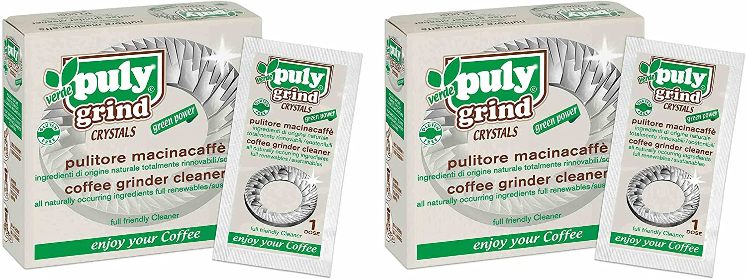 Asachimici Puly Grind Crystals, Patented Coffee Grinder Cleaner - 20 Doses, 1/2 Ounce (15g) jeder [ Italian Import ]