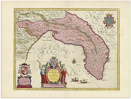 Brindisi Cartina Geografica.The Blaeu Prints Matera Puglia Mappa Storica Stampa Da Atlas Antico Di Joan Blaeu Mostra Mappa Antica Taranto Lecce Brindisi Amazon It Casa E Cucina