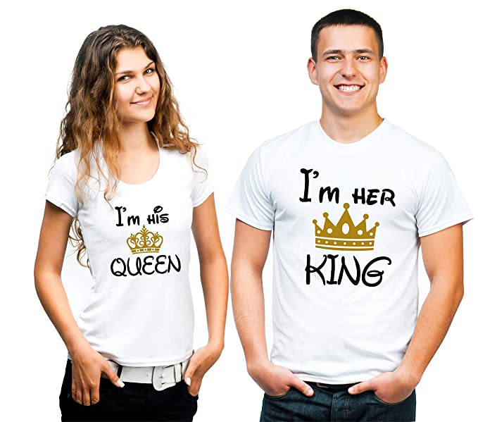 d30aa1f79 Hangout Hub Couple Tshirts I Am Her King I Am His Queen with Golden Crown  White Color Printed Matching Tees Valentine Gift for Men Women (Set of 2) …