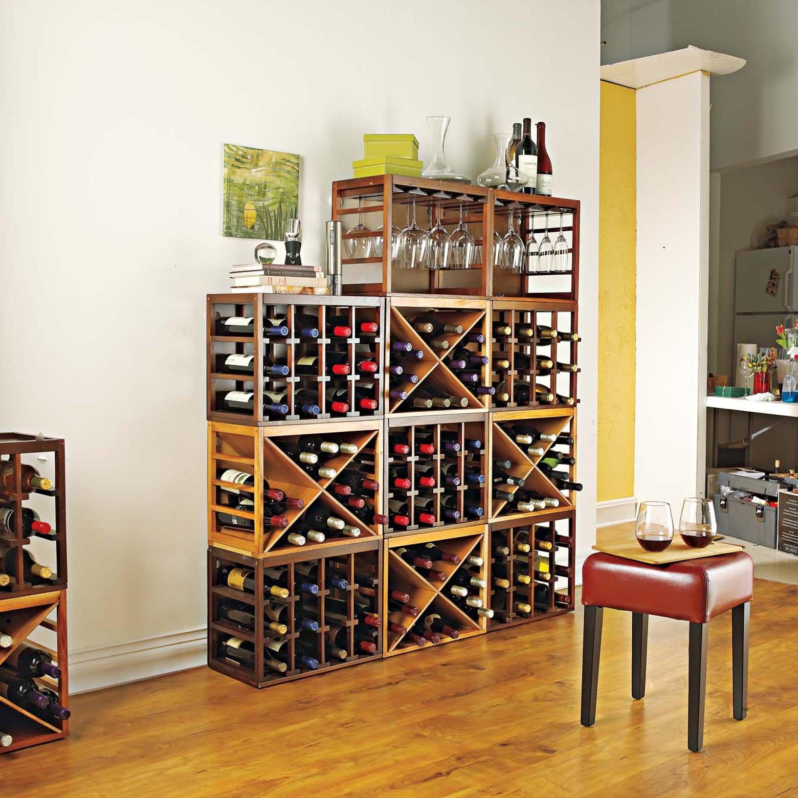 Cube-Stack Wine Glass Rack -Walnut Stain