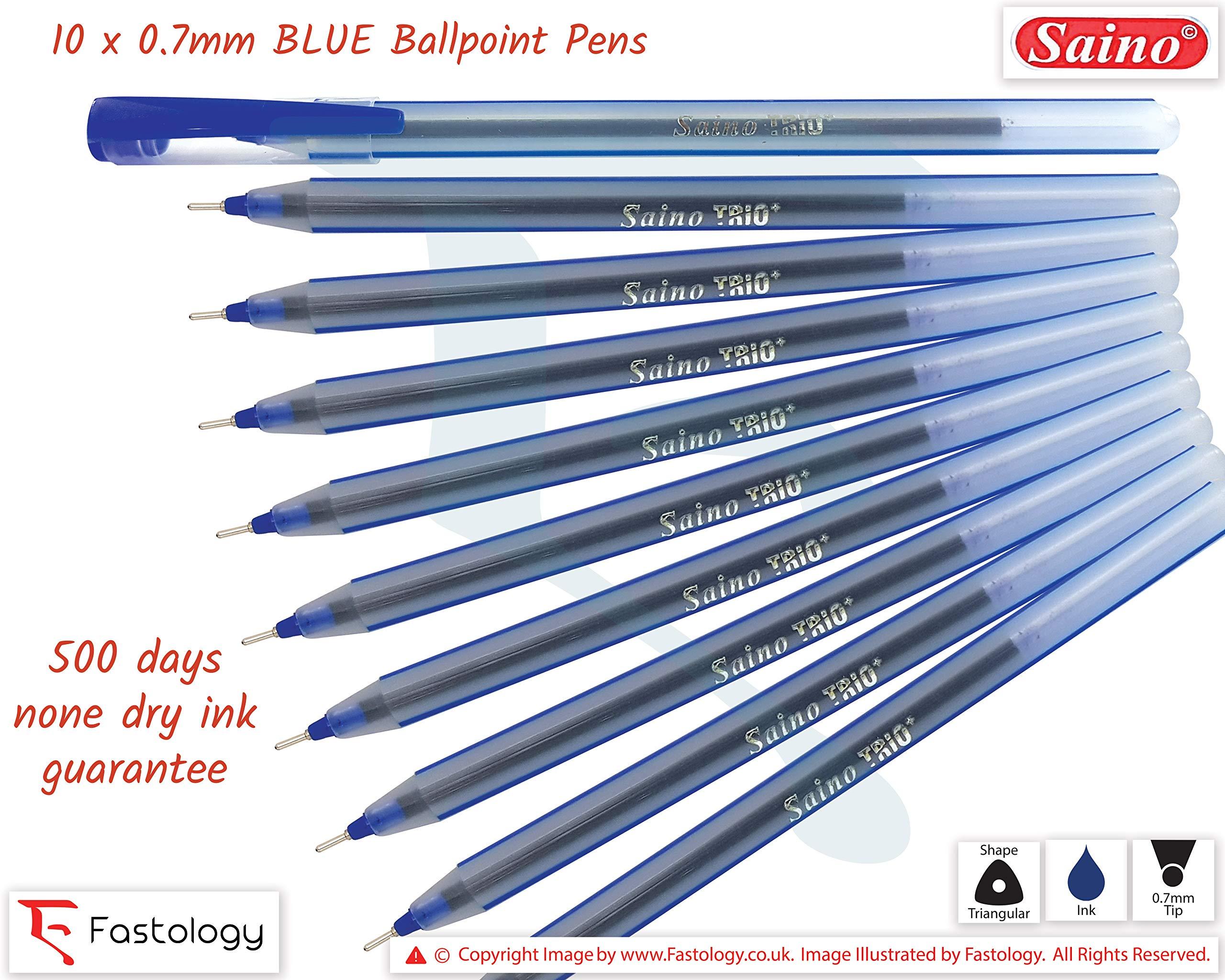 SAINO Trio 10 x 0.7mm Point BLUE Ballpoint Pens Smooth Fine Writing School Office Business Supplies