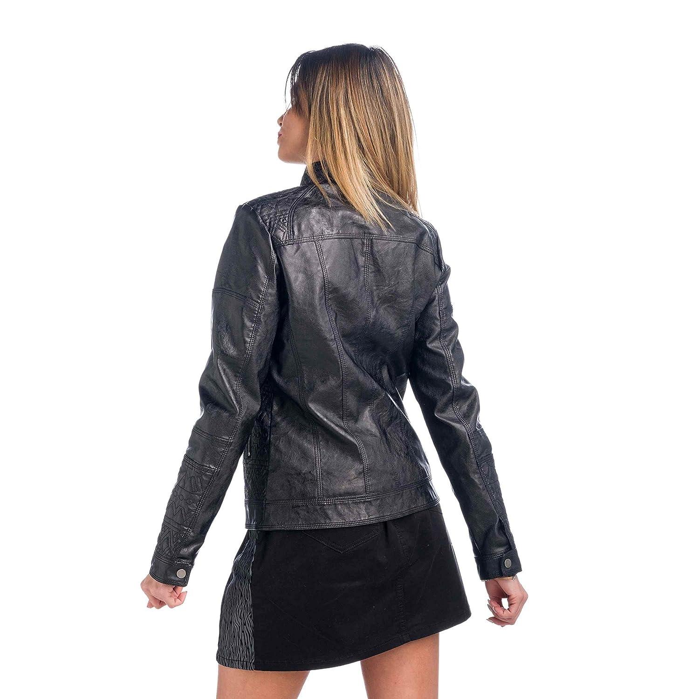 Koroshi Chaqueta Cazadora Efecto Piel Garment: Amazon.es ...