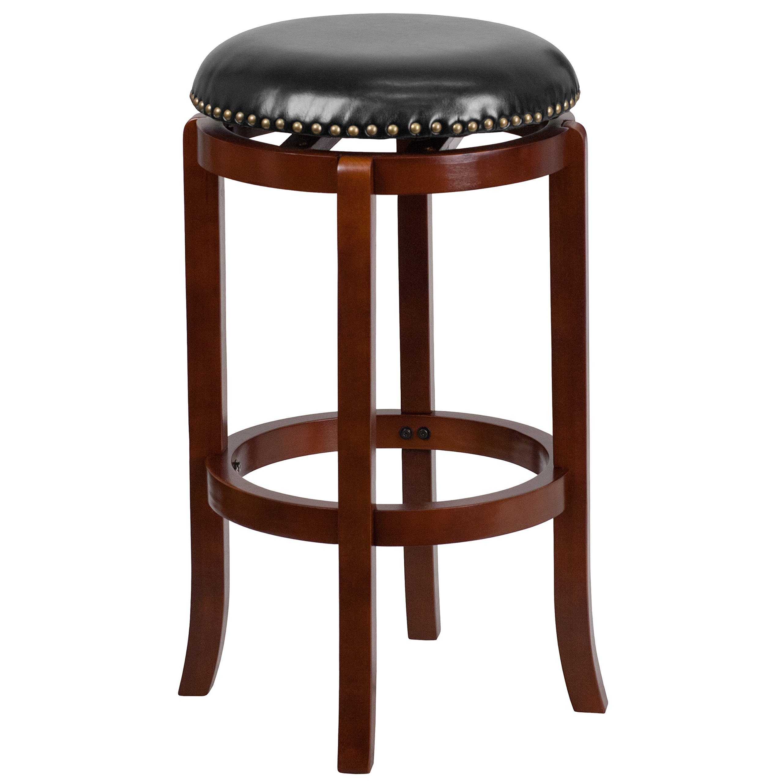 Flash Furniture 29'' High Backless Light Cherry Wood Barstool with Black Leather Swivel Seat