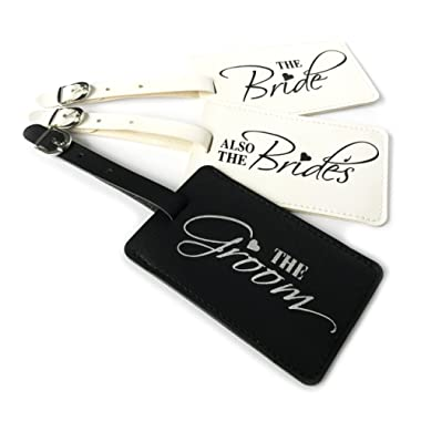 The Bride, Also The Brides & The Groom Wedding Honeymoon Luggage tags Set of 3, Black & White, Large