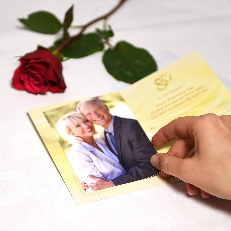Deko-Schulze Dankeskarten Hochzeit orange gelb 12 Briefumschl/äge wei/ß und je 12 Fotoecken Erst Hochzeit feiern und danach Danke Sagen 12 x Dankekarten Gold im Set