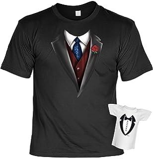 746e7abdc1a35d Fun T-Shirt Smoking Krawatte Weste Anzug Shirt Bedruckt Geschenk-Set mit  Mini Flaschenshirt