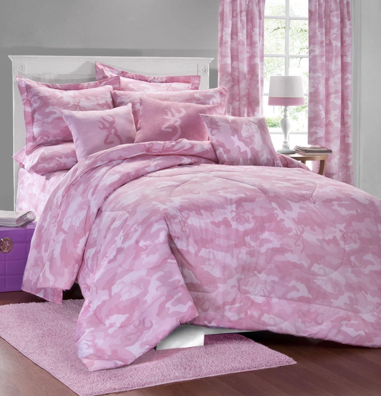 Browning Buckmark Pink Camo 7 Pc Full Size Comforter Set and Set of (Two) Matching Window Valance/Drape Sets (Comforter, 1 Flat Sheet, 1 Fitted Sheet, 2 Pillow Cases, 2 Shams, 2 Window Valance/Drape Sets) SAVE BIG ON BUNDLING!